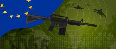 A celebração nacional do país da guerra e da luta do setor da defesa do exército da potência militar da UE da união de Europa com ilustração stock