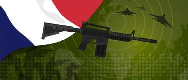 Celebração nacional do país da guerra e da luta do setor da defesa do exército da potência militar de França com o lutador de jat ilustração stock