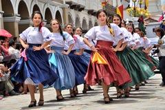 Celebração pelos 460 anos de fundação do ` s de Cuenca, Equador foto de stock