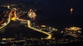 Celebração Victory Day dos fogos-de-artifício no grande guerra o 9 de maio patriótico filme
