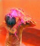 Celebrações de Holi em India. Fotos de Stock