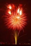 Celebrações dos fogos-de-artifício para a véspera de anos novos Fotografia de Stock