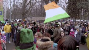 Celebra??o do dia de St Patrick no parque Sokolniki de Moscou video estoque