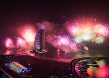 Celebración árabe de la Noche Vieja del al de Burj Foto de archivo