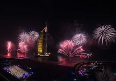 Celebración árabe de la Noche Vieja del al de Burj Imagen de archivo libre de regalías