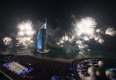 Celebración árabe de la Noche Vieja del al de Burj Imagenes de archivo