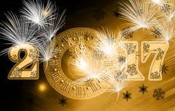 Celebración amarilla 2017 del reloj Imagen de archivo libre de regalías