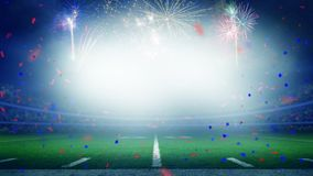 Celebración americana del triunfo del campeonato del campo de fútbol imágenes de archivo libres de regalías