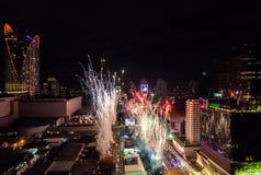 Celebración BANGKOK, TAILANDIA de los Años Nuevos del fuego artificial - 31 de diciembre, Fotos de archivo