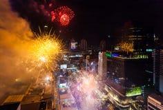 Celebración BANGKOK, TAILANDIA de los Años Nuevos del fuego artificial - 31 de diciembre, Imagenes de archivo