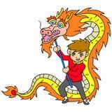 Celebración china del Año Nuevo con danza del dragón