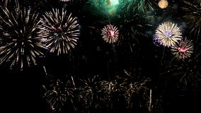 Celebración colorida de los fuegos artificiales en el cielo nocturno metrajes