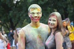 Celebración colorida, el festival de los colores Holi Fotos de archivo