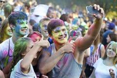 Celebración colorida, el festival de los colores Holi Imágenes de archivo libres de regalías