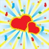 Celebración con el corazón y los globos Foto de archivo libre de regalías