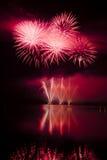 Celebración con la demostración de los fuegos artificiales Imágenes de archivo libres de regalías