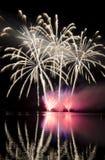 Celebración con la demostración de los fuegos artificiales Imagen de archivo