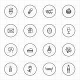 Celebración con la línea iconos y fondo blanco del círculo Imágenes de archivo libres de regalías