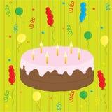 Celebración con la torta y los globos Foto de archivo libre de regalías