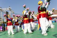 Celebración coreana para el festival de linterna de Lotus Imágenes de archivo libres de regalías