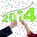 Celebración de Año Nuevo con champán Imagen de archivo libre de regalías