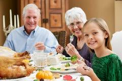 Celebración de acción de gracias con los abuelos Fotos de archivo libres de regalías