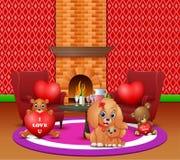 Celebración de día de San Valentín con los perros y el oso de peluche ilustración del vector
