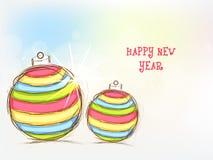 Celebración de la Feliz Año Nuevo con las bolas de Navidad Imagenes de archivo