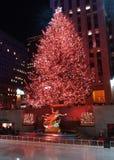 Celebración de la iluminación del árbol de navidad en el centro de Rockefeller fotos de archivo libres de regalías