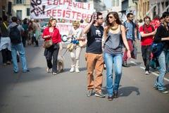 Celebración de la liberación celebrada en Milán el 25 de abril de 2014 Foto de archivo libre de regalías