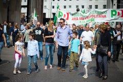 Celebración de la liberación celebrada en Milán el 25 de abril de 2014 Foto de archivo
