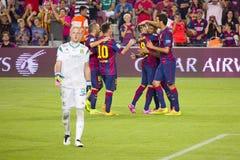 Celebración de la meta de FC Barcelona Imagenes de archivo