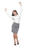 Celebración de la mujer de negocios del éxito fotos de archivo