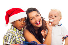 Celebración de la Navidad de la familia Imagen de archivo