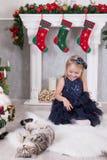 Celebración de la Navidad o del Año Nuevo Buenas fiestas Niña que juega con el gato cerca del árbol de navidad y de la chimenea c imagen de archivo