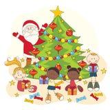 Celebración de la Navidad. Santa y niños Foto de archivo libre de regalías