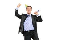 Celebración de la persona del partido aislada en blanco Imagen de archivo libre de regalías