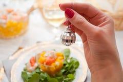 Celebración de la tabla del ` s del Año Nuevo de Cristmas, postre dulce Fotografía de archivo