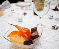 Celebración de la tabla del ` s del Año Nuevo de Cristmas, postre dulce Foto de archivo