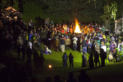 Celebración de la víspera de Midsumer o de Juan en Letonia Foto de archivo