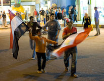 Celebración de la victoria para Egipto en la taza de África fotos de archivo libres de regalías