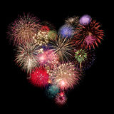 Celebración de los fuegos artificiales del corazón Foto de archivo libre de regalías