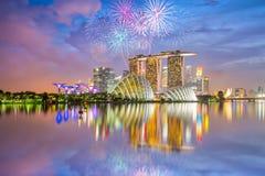 Celebración de los fuegos artificiales del día nacional de Singapur foto de archivo libre de regalías
