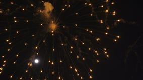 Celebración de los fuegos artificiales en la noche almacen de metraje de vídeo