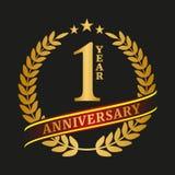 Celebración de oro del logotipo del aniversario Foto de archivo libre de regalías