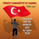 Celebración de República de Turquía con letras del himno nacional stock de ilustración