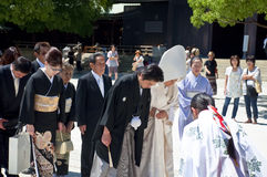 Celebración de una boda japonesa tradicional Fotografía de archivo libre de regalías