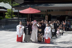 Celebración de una boda japonesa tradicional Fotos de archivo