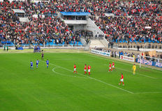 Celebración de una meta del fútbol Imágenes de archivo libres de regalías