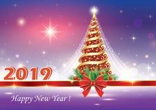 Celebración del Año Nuevo 2019 Árbol de navidad stock de ilustración